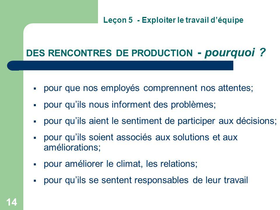 DES RENCONTRES DE PRODUCTION - pourquoi