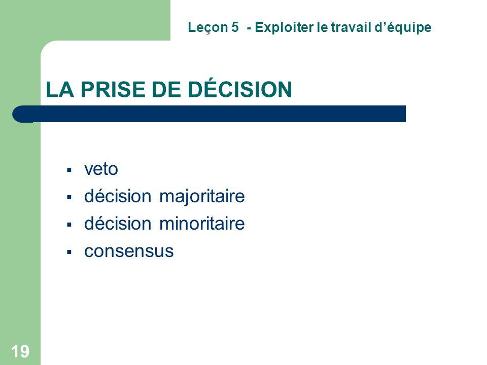 veto décision majoritaire décision minoritaire consensus