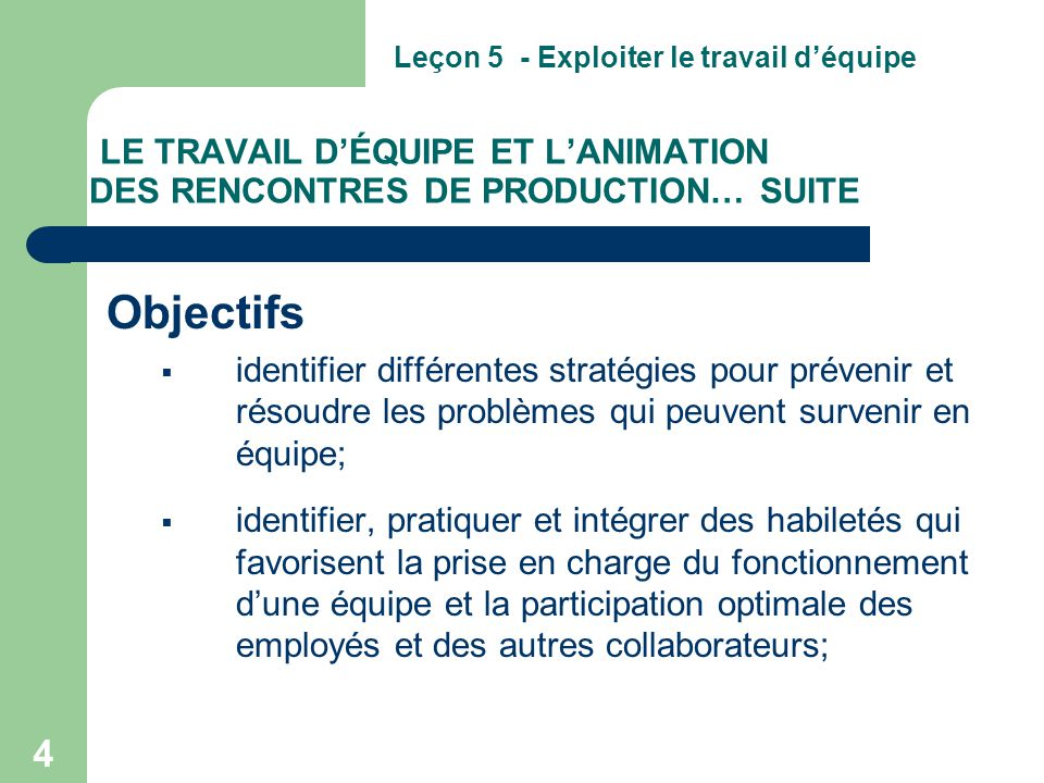 LE TRAVAIL D'ÉQUIPE ET L'ANIMATION DES RENCONTRES DE PRODUCTION… SUITE