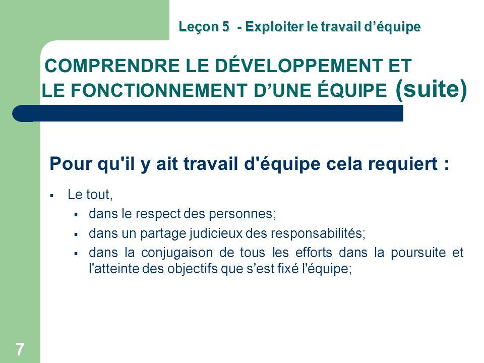 COMPRENDRE LE DÉVELOPPEMENT ET LE FONCTIONNEMENT D'UNE ÉQUIPE (suite)