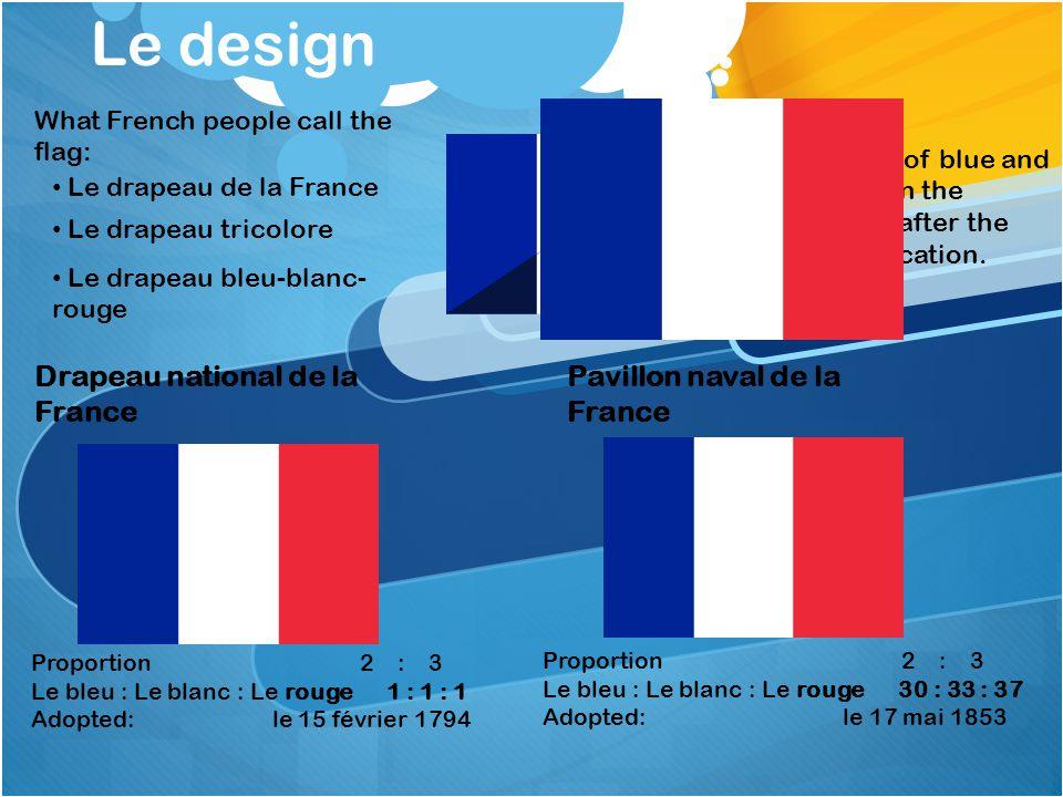 Le design Drapeau national de la France Pavillon naval de la France