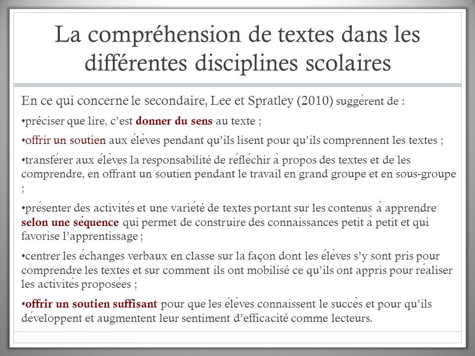 La compréhension de textes dans les différentes disciplines scolaires