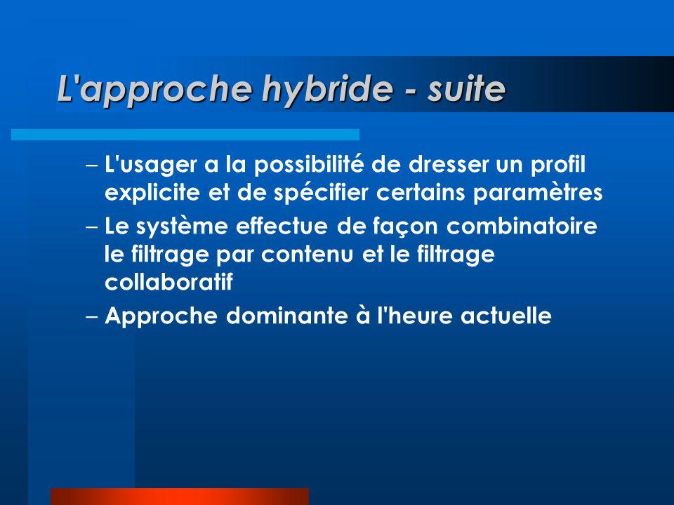 L approche hybride - suite