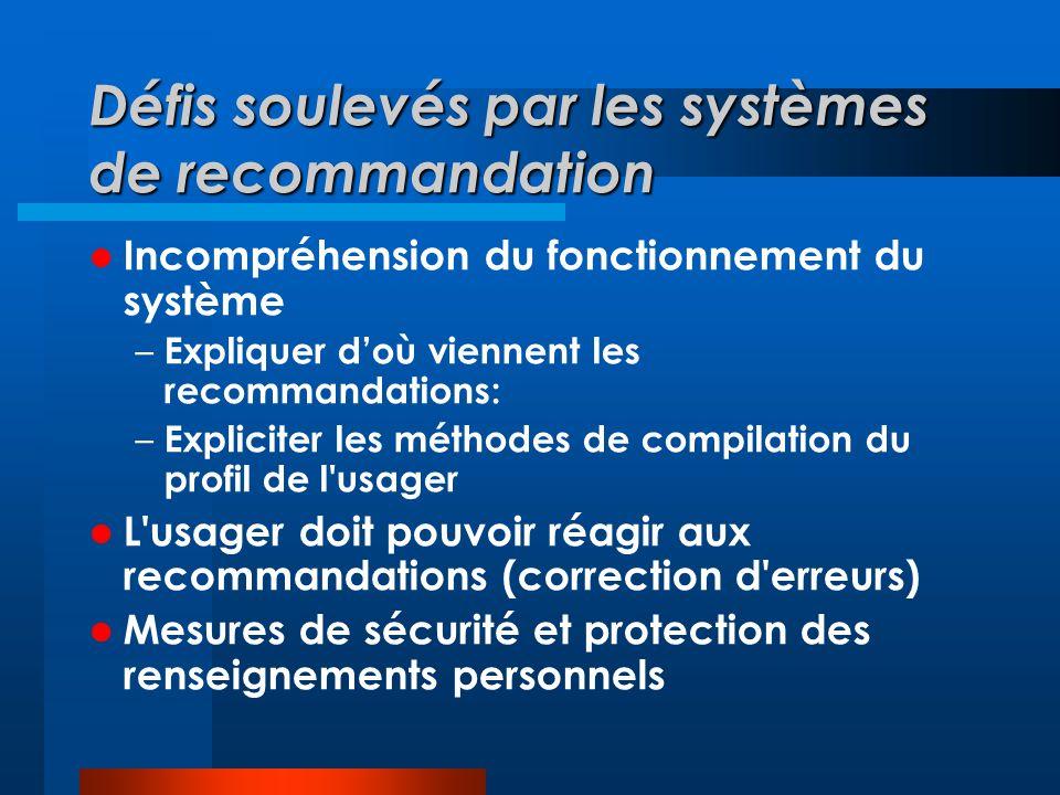 Défis soulevés par les systèmes de recommandation