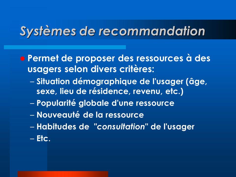 Systèmes de recommandation