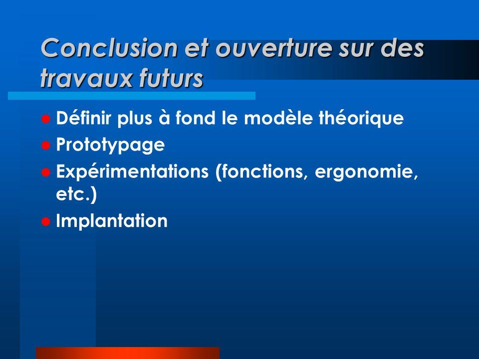 Conclusion et ouverture sur des travaux futurs