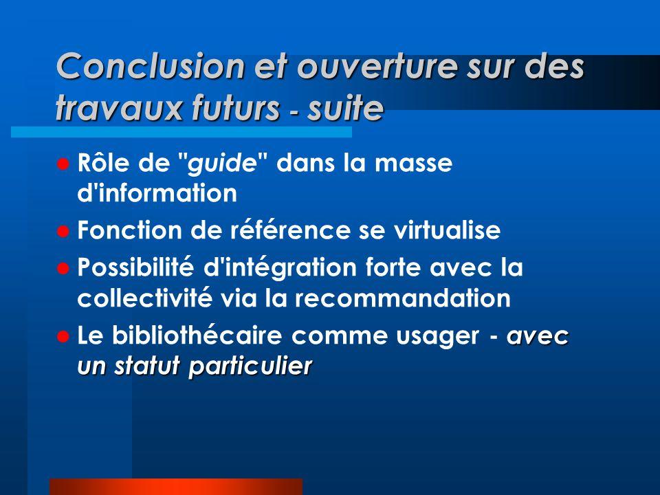 Conclusion et ouverture sur des travaux futurs - suite