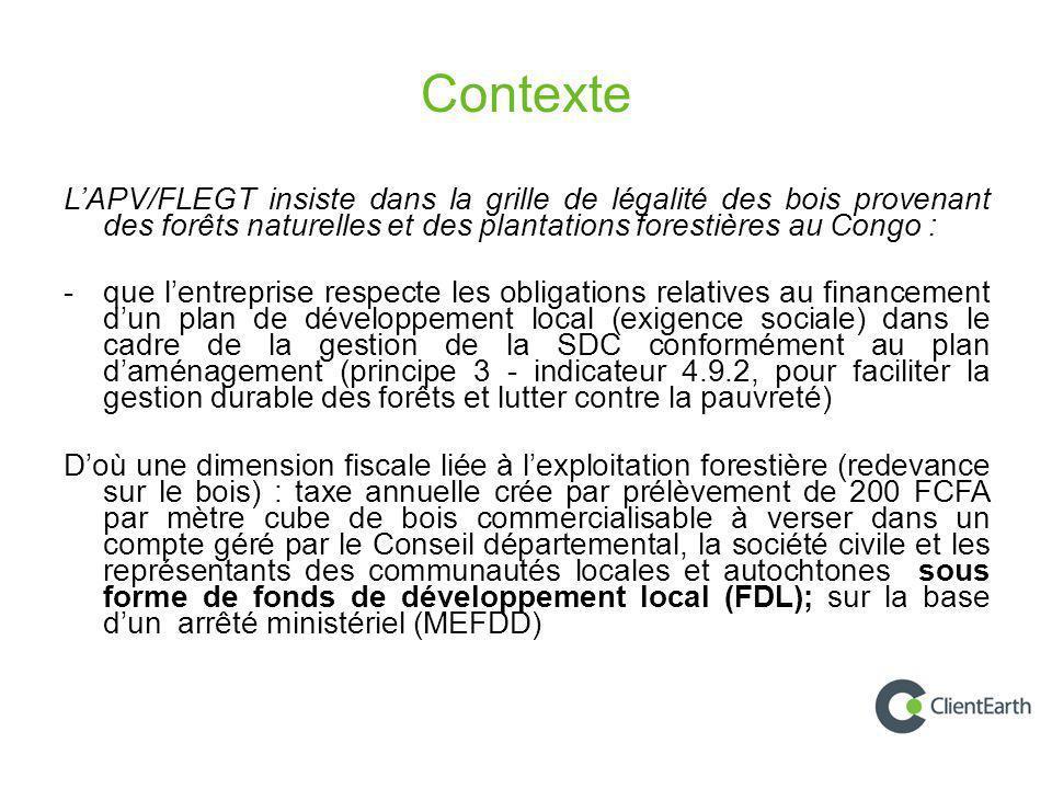 Contexte L'APV/FLEGT insiste dans la grille de légalité des bois provenant des forêts naturelles et des plantations forestières au Congo :