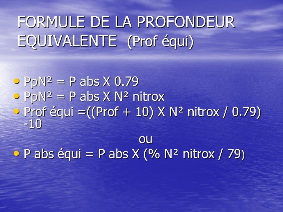 FORMULE DE LA PROFONDEUR EQUIVALENTE (Prof équi)