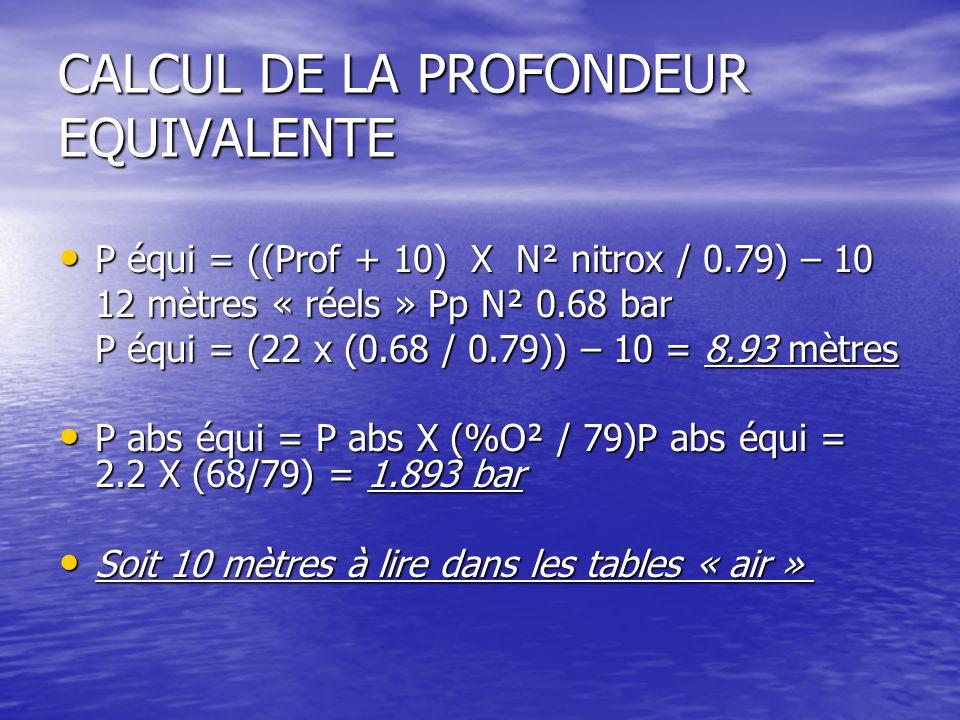 CALCUL DE LA PROFONDEUR EQUIVALENTE