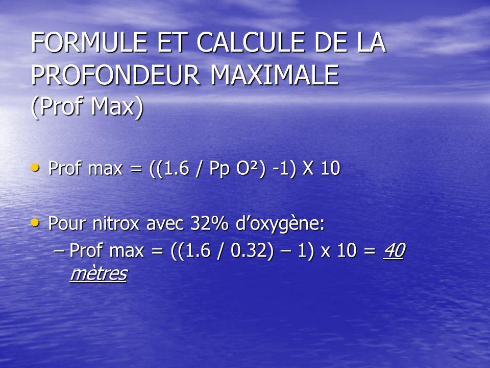 FORMULE ET CALCULE DE LA PROFONDEUR MAXIMALE (Prof Max)