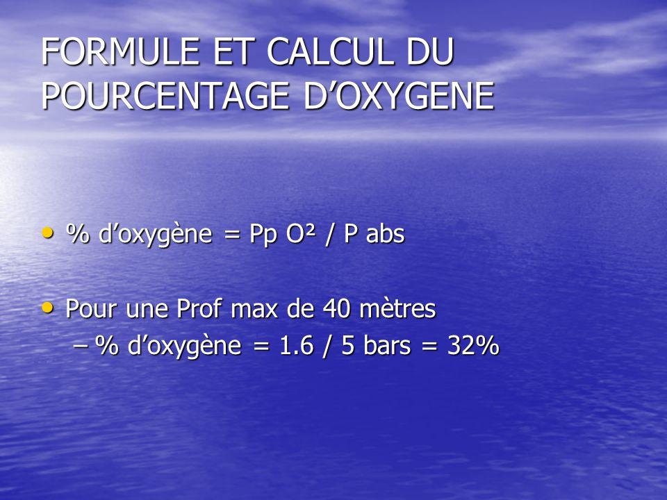 FORMULE ET CALCUL DU POURCENTAGE D'OXYGENE