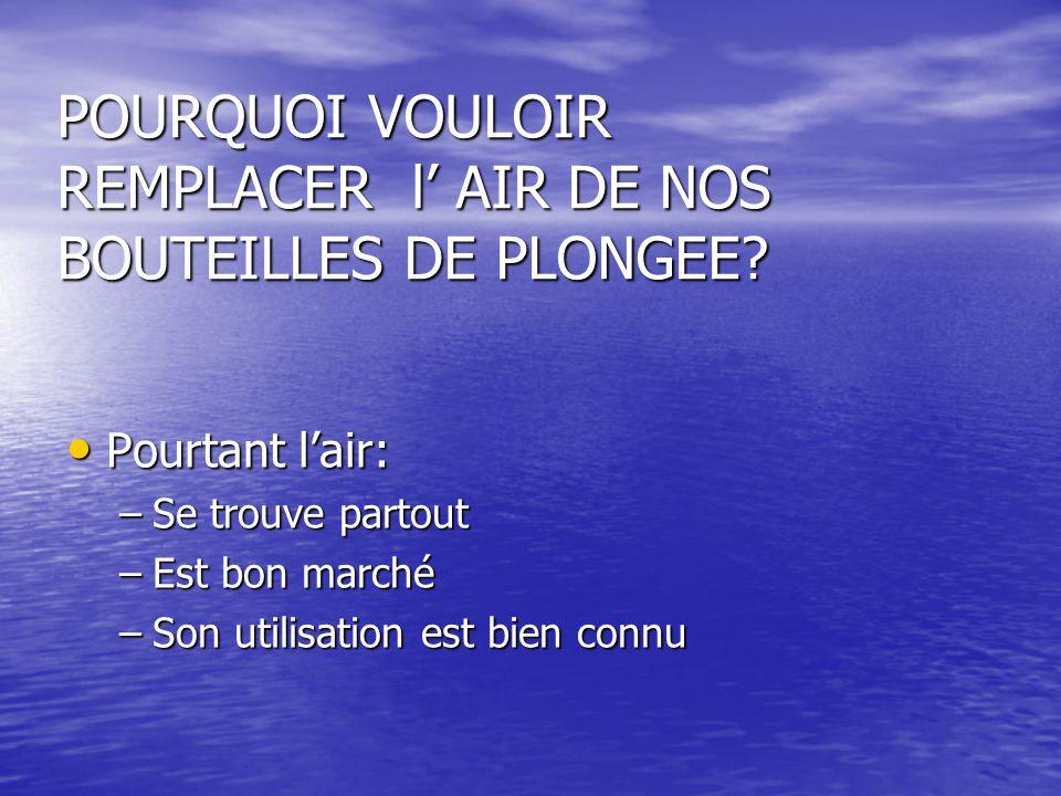POURQUOI VOULOIR REMPLACER l' AIR DE NOS BOUTEILLES DE PLONGEE