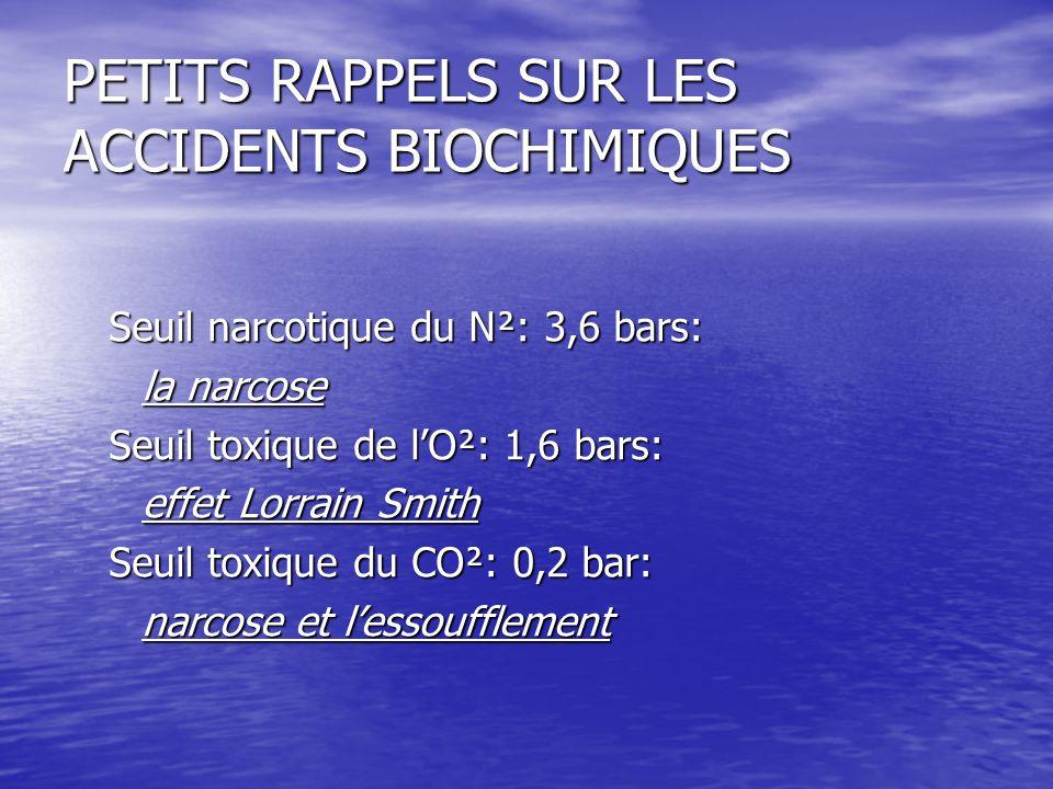 PETITS RAPPELS SUR LES ACCIDENTS BIOCHIMIQUES