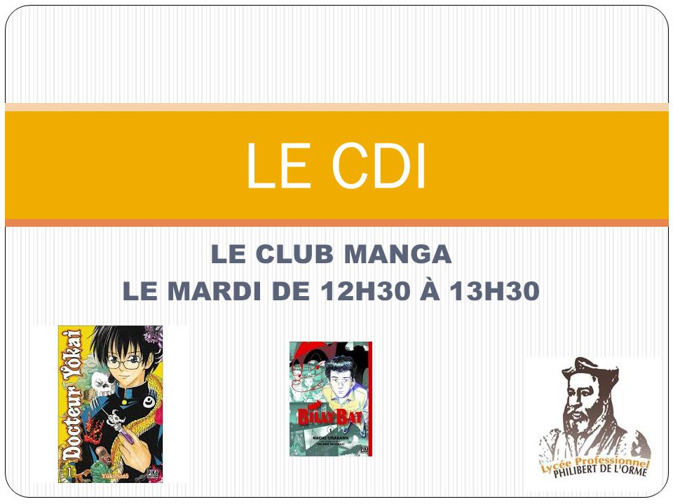 LE CLUB MANGA LE MARDI DE 12H30 À 13H30