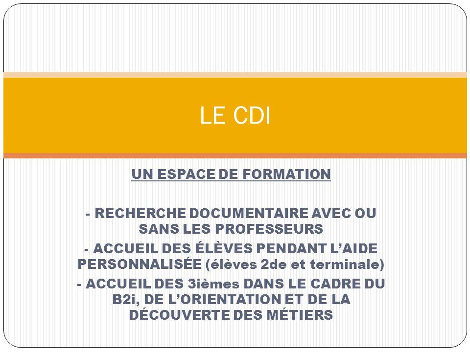 - RECHERCHE DOCUMENTAIRE AVEC OU SANS LES PROFESSEURS