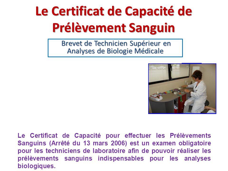 Le Certificat de Capacité de Prélèvement Sanguin