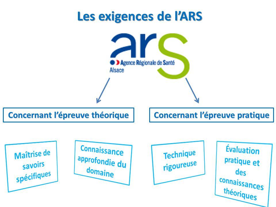 Les exigences de l'ARS Concernant l'épreuve théorique