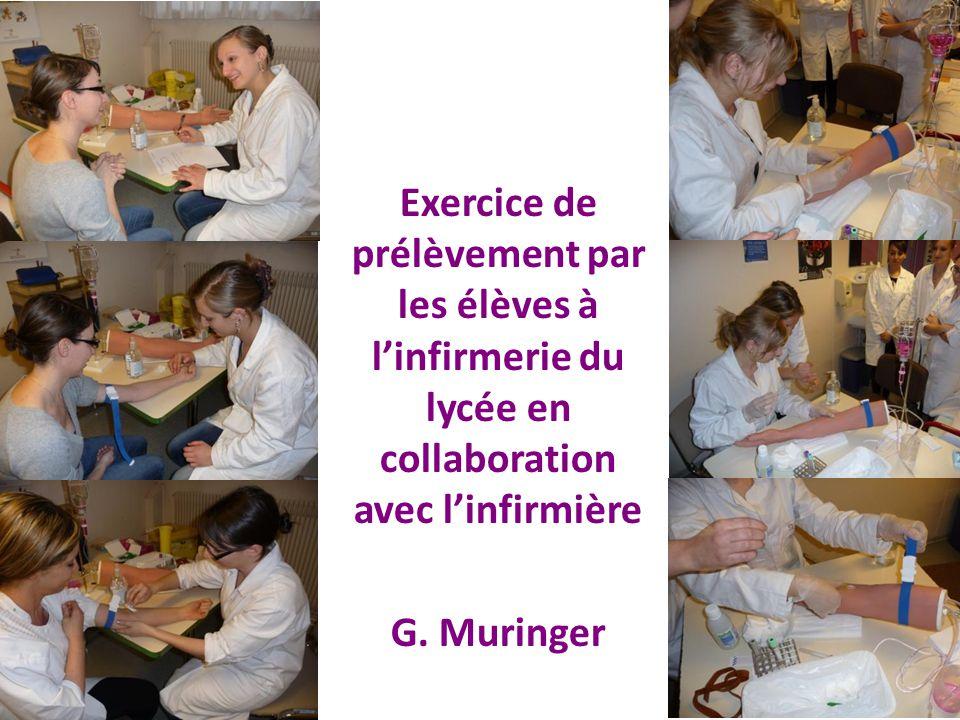 Exercice de prélèvement par les élèves à l'infirmerie du lycée en collaboration avec l'infirmière G.