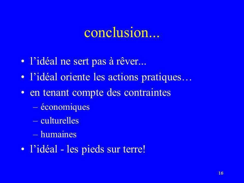 conclusion... l'idéal ne sert pas à rêver...