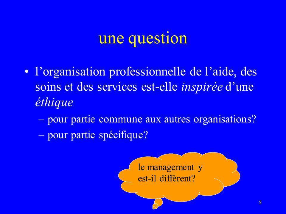 une question l'organisation professionnelle de l'aide, des soins et des services est-elle inspirée d'une éthique.