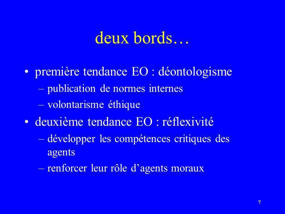 deux bords… première tendance EO : déontologisme