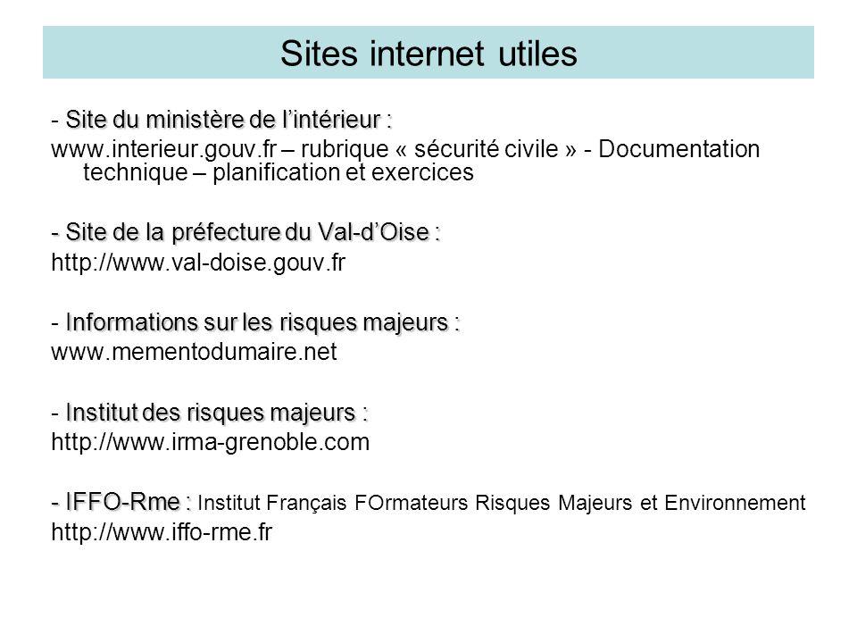 Sites internet utiles - Site du ministère de l'intérieur :