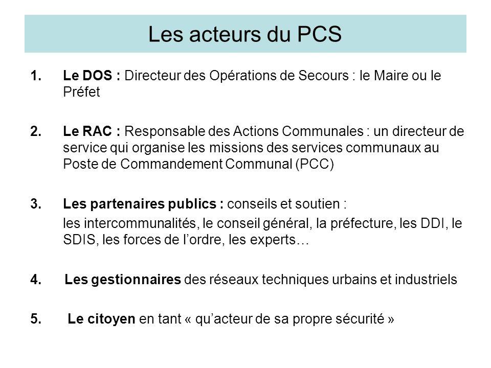 Les acteurs du PCS Le DOS : Directeur des Opérations de Secours : le Maire ou le Préfet.