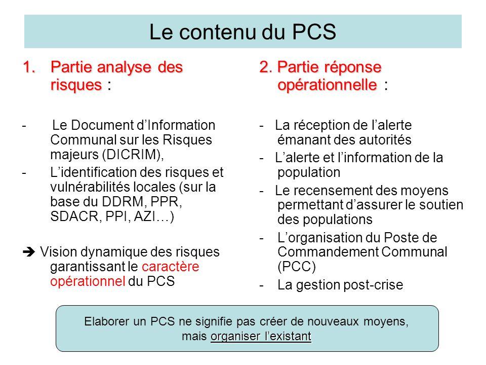 Le contenu du PCS Partie analyse des risques :