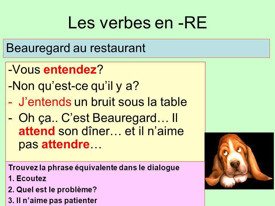 Les verbes en -RE Beauregard au restaurant -Vous entendez
