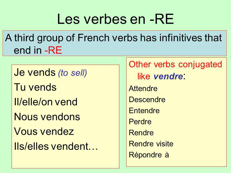 Les verbes en -RE A third group of French verbs has infinitives that end in -RE. Other verbs conjugated like vendre: