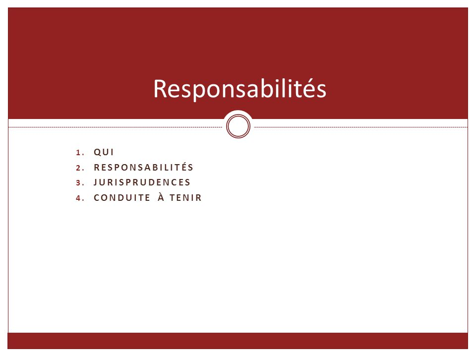 Responsabilités QUI Responsabilités Jurisprudences Conduite à tenir