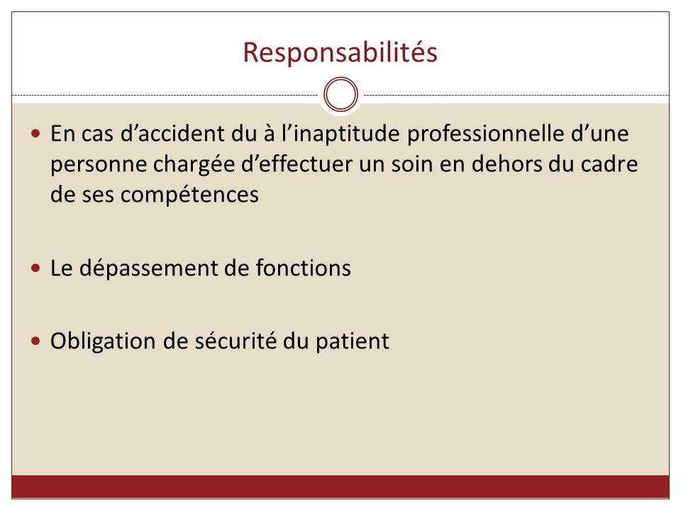 Responsabilités En cas d'accident du à l'inaptitude professionnelle d'une personne chargée d'effectuer un soin en dehors du cadre de ses compétences.