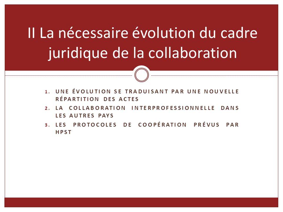 II La nécessaire évolution du cadre juridique de la collaboration