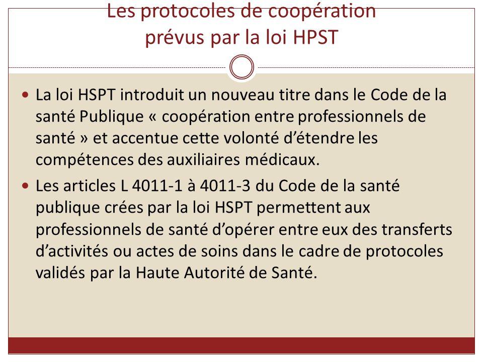 Les protocoles de coopération prévus par la loi HPST