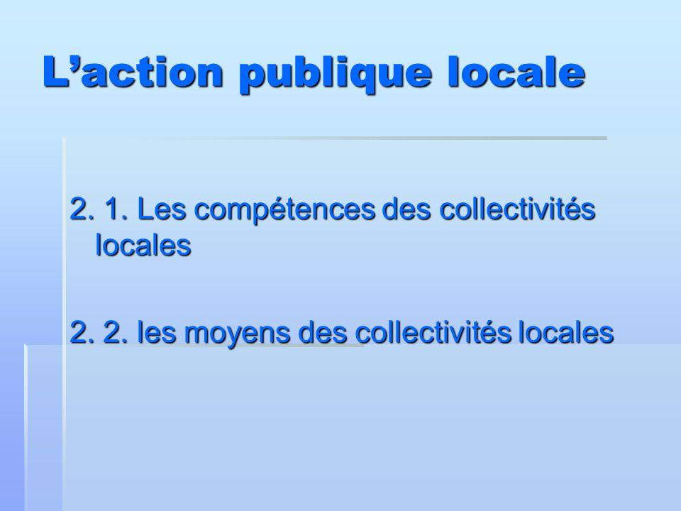 L'action publique locale