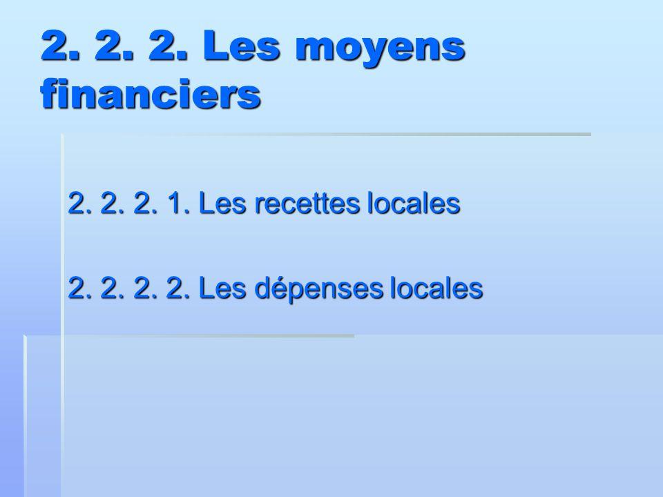 2. 2. 2. Les moyens financiers 2. 2. 2. 1. Les recettes locales