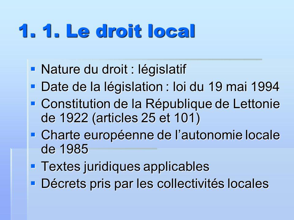 1. 1. Le droit local Nature du droit : législatif