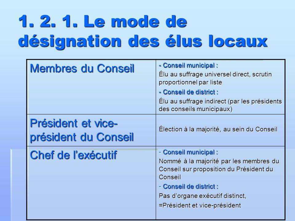 1. 2. 1. Le mode de désignation des élus locaux