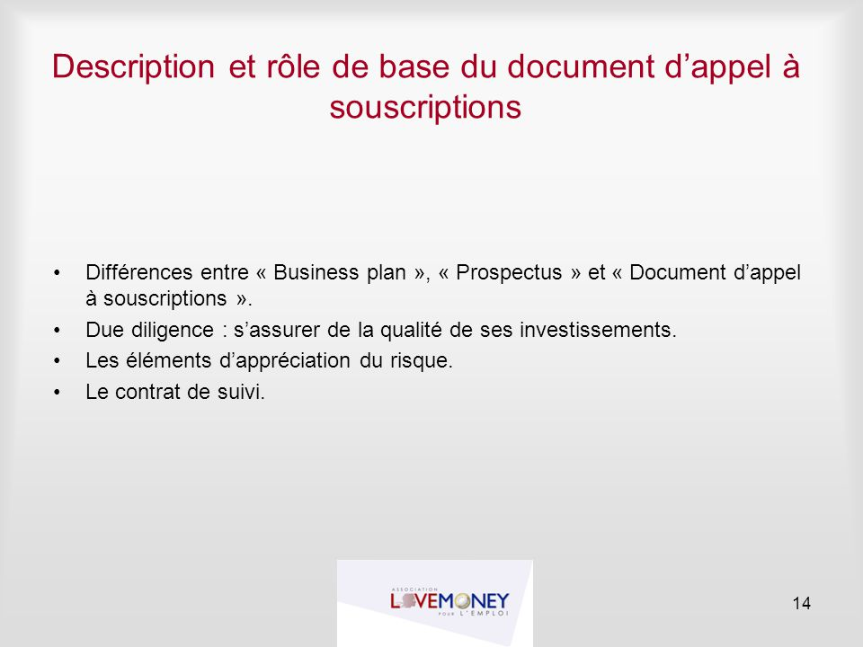 Description et rôle de base du document d'appel à souscriptions