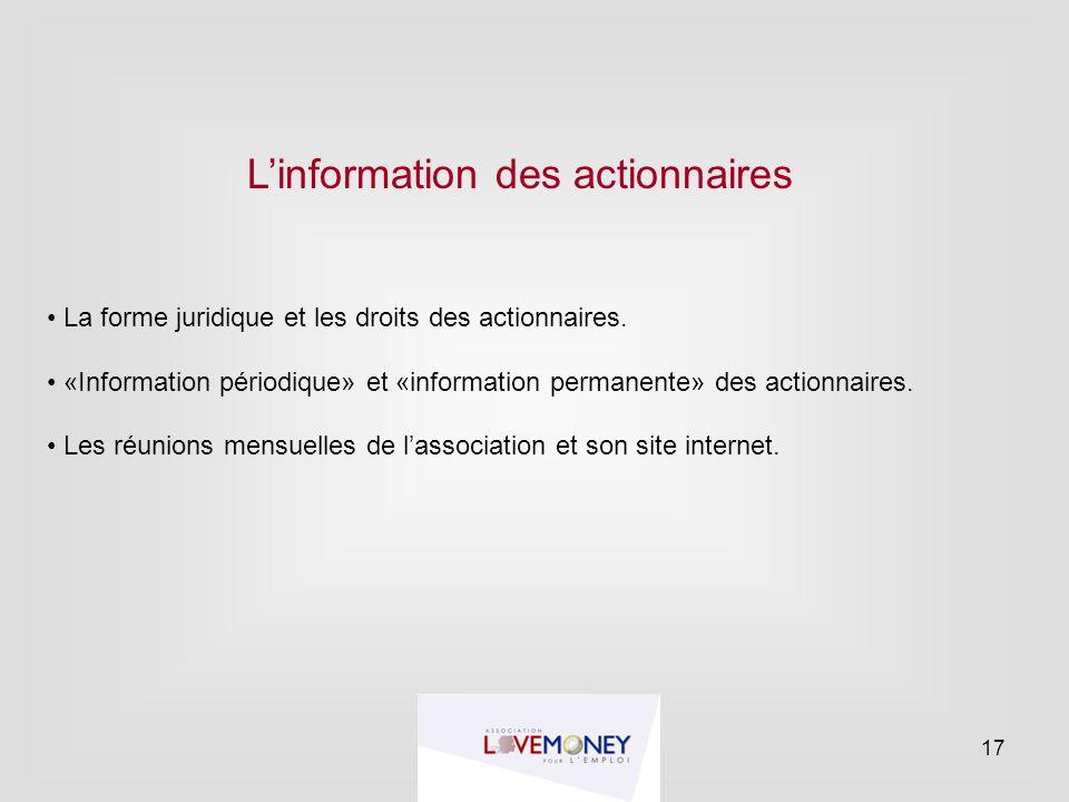 L'information des actionnaires
