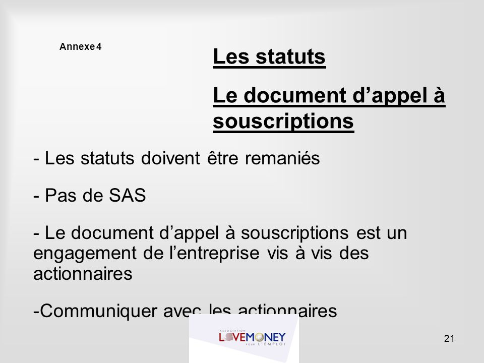 Le document d'appel à souscriptions