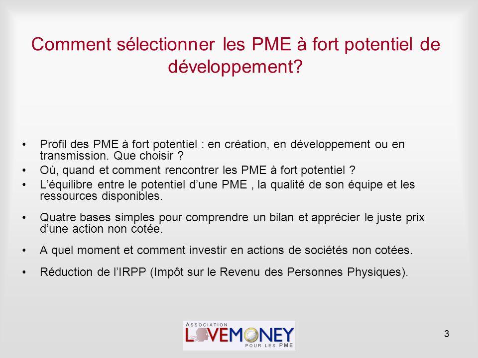 Comment sélectionner les PME à fort potentiel de développement