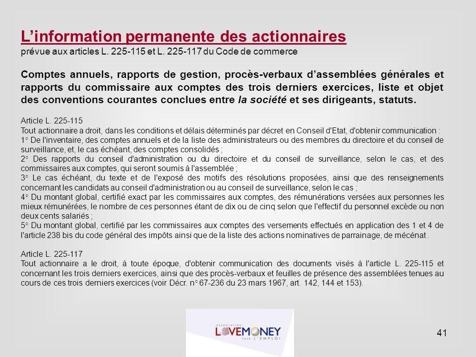 L'information permanente des actionnaires