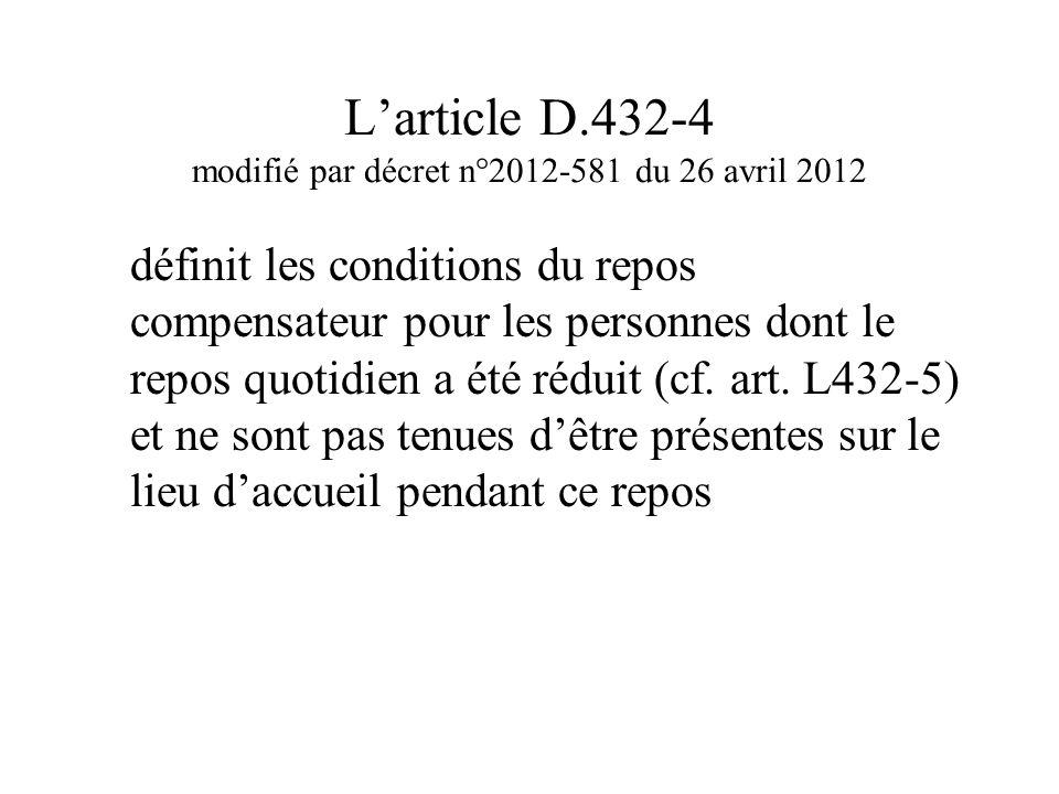 L'article D.432-4 modifié par décret n°2012-581 du 26 avril 2012