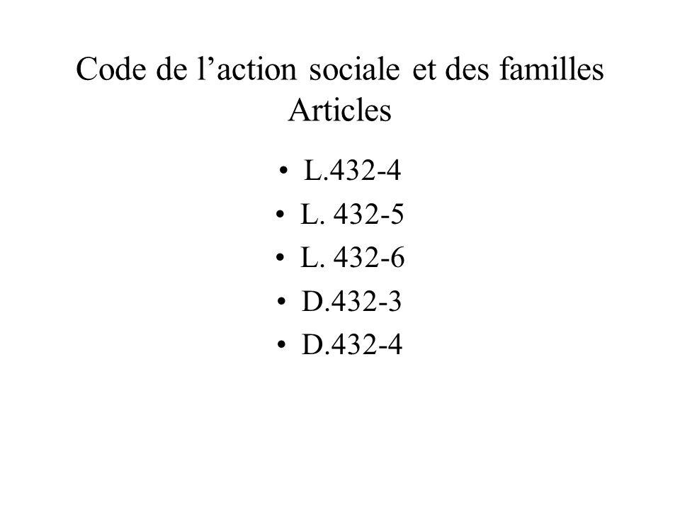 Code de l'action sociale et des familles Articles