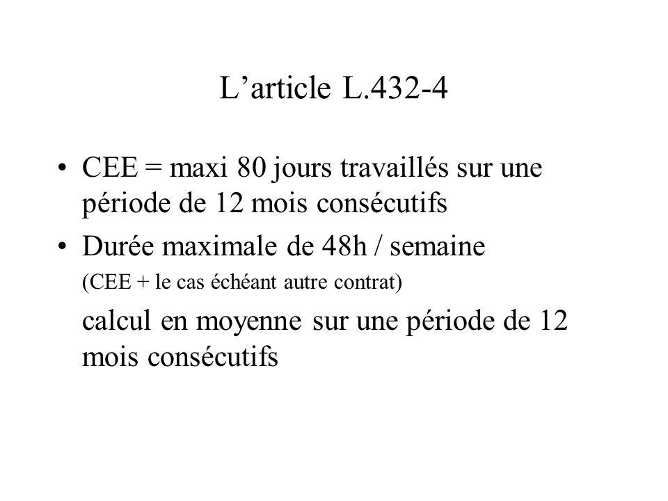 L'article L.432-4 CEE = maxi 80 jours travaillés sur une période de 12 mois consécutifs. Durée maximale de 48h / semaine.