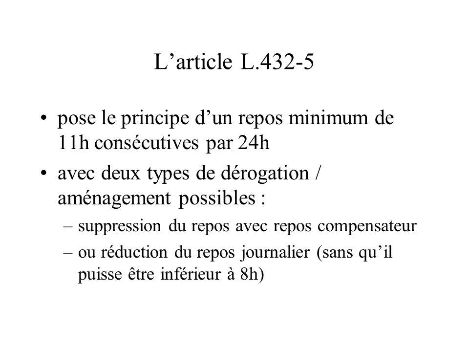 L'article L.432-5 pose le principe d'un repos minimum de 11h consécutives par 24h. avec deux types de dérogation / aménagement possibles :