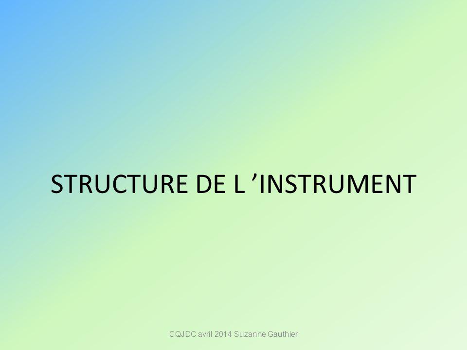 STRUCTURE DE L 'INSTRUMENT