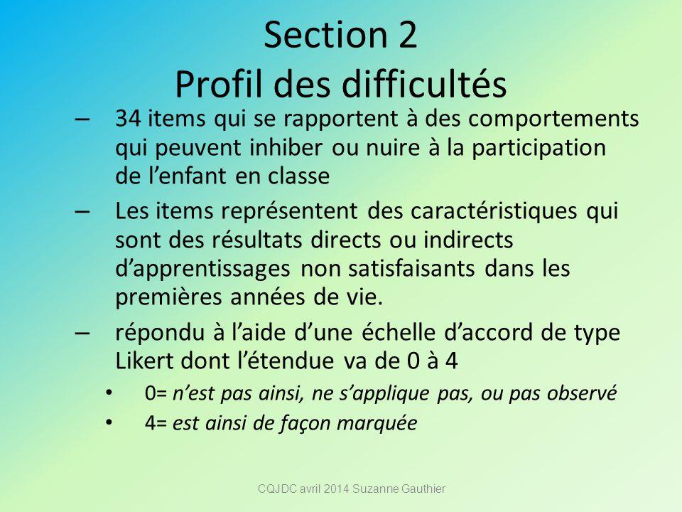 Section 2 Profil des difficultés
